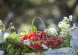 basket of red strawberries with green leaves and white wildflowers on table