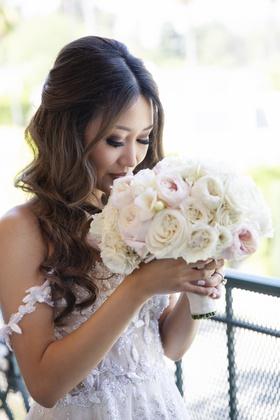 bride in off shoulder galia lahav wedding dress white manicure nails pink and white rose garden rose