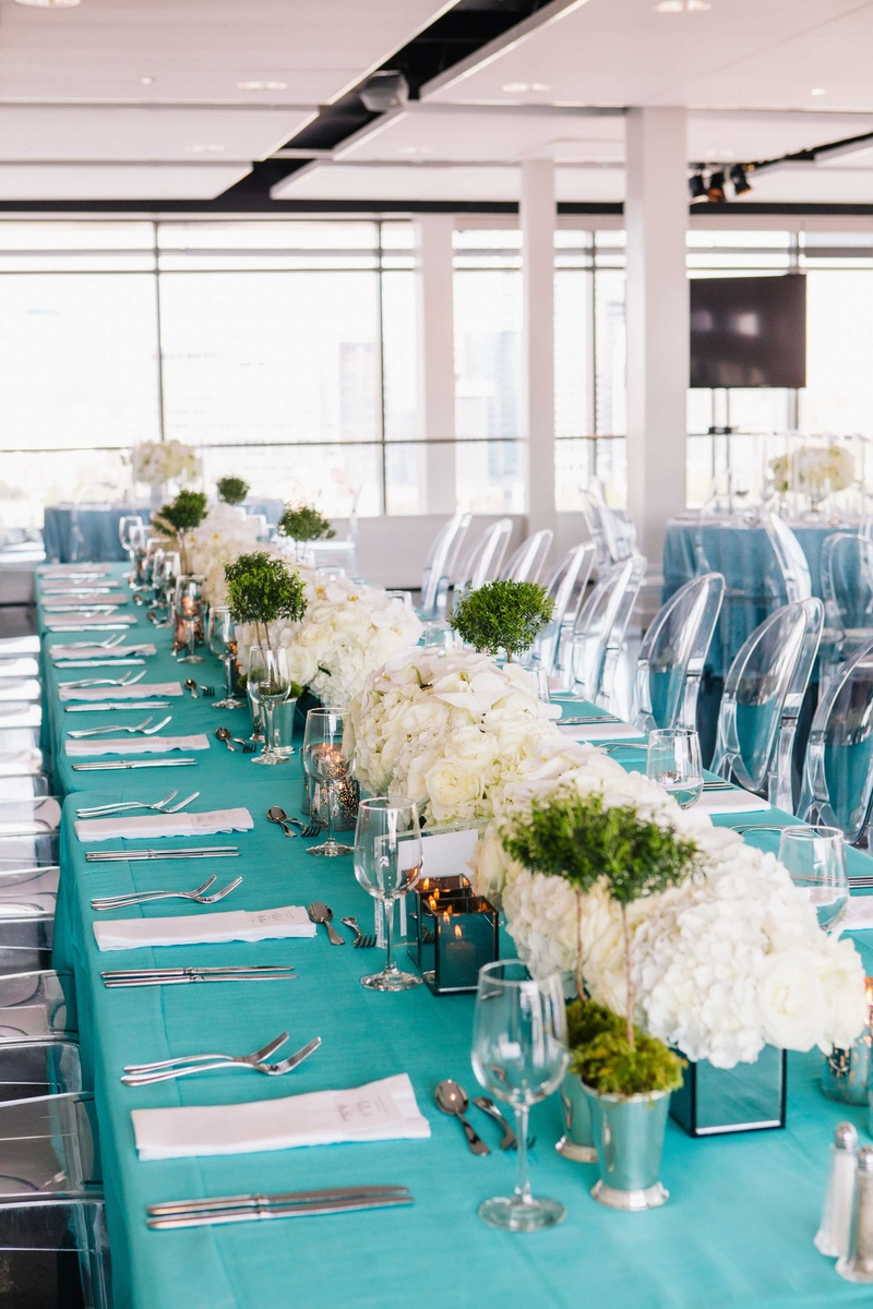 Rehearsal Dinners Photos - Long Table with Tiffany Blue Linens and ...