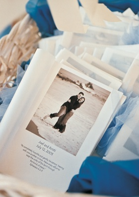 Wedding ceremony program with bible verse and sepia photo of couple