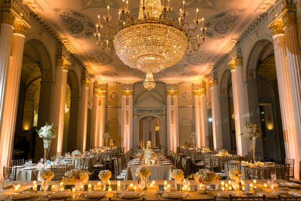 Reception with pillars, candles and chandelier at Biltmore Ballrooms in atlanta