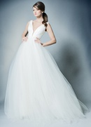 ROMONA New York Spring 2019 collection tulle lace v neck ball gown with belt
