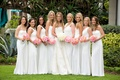 bride in strapless vera wang wedding dress bridesmaids in long mismatched white monique lhuillier