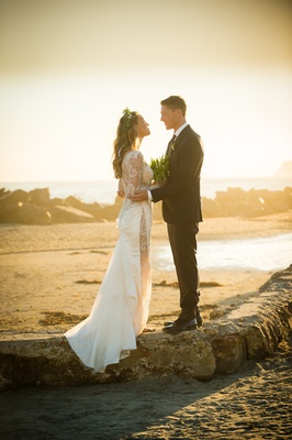 bride groom twilight glow beach wedding san diego hotel del coronado beach galia lahav love romance