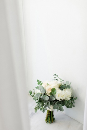 bridal bouquet with ivory roses and eucalyptus leaves