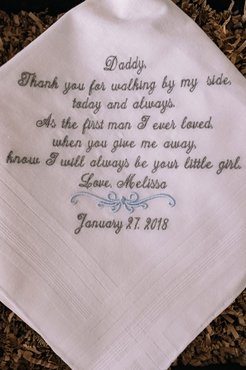 father of bride gift ideas embroidered handkerchief with note from daughter bride