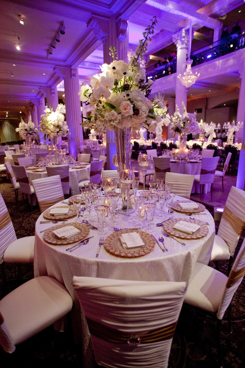 Reception Decor Photos White Gold Tablescape With Purple