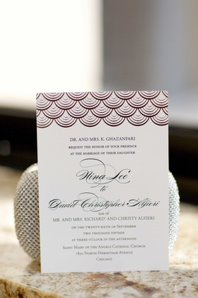 Ballroom wedding invitation with scallop design motif at top and calligraphy names Gazanfari Alfieri