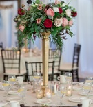 red garden roses, ivory and blush roses, greenery, gold stand