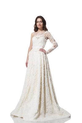 Olia Zavozina asymmetrical illusion long sleeve wedding dress