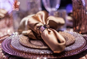 metallic purple reception place setting styled shoot fall napkin ring sparkle chargers copper