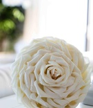 Wedding bouquet with rose petals glued together to look like one flower