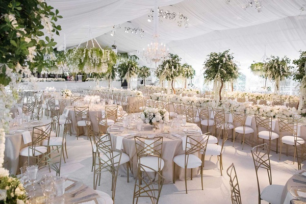 white tented wedding reception flower chandelier gold chairs high low centerpieces tree centerpiece