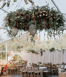 wedding reception tent wedding flower chandelier edison lightbulb vineyard chairs rustic decor