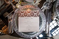 wedding reception place setting mirror table with silver rim charger plate metallic foil menu card