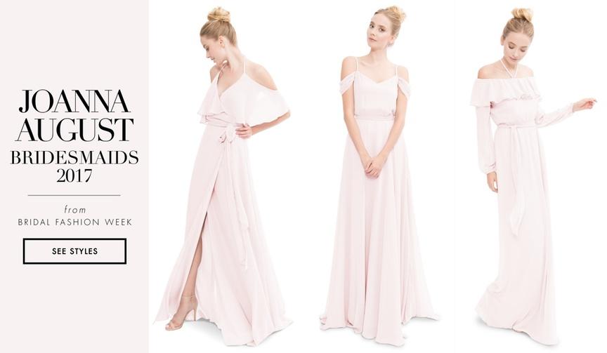 Joanna August 2017 bridesmaid dresses off shoulder long bridesmaid styles light pink ruffle