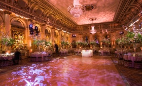 Illuminated dance floor and crystal chandeliers