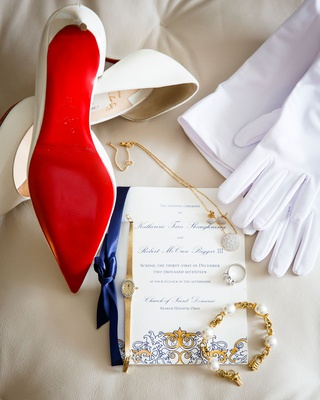 wedding invitation royal blue and gold classic watch white gloves christian louboutin shoes heels