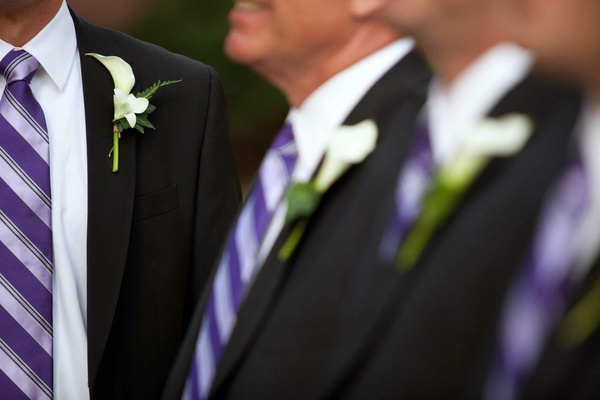 Groom and groomsmen wearing purple ties