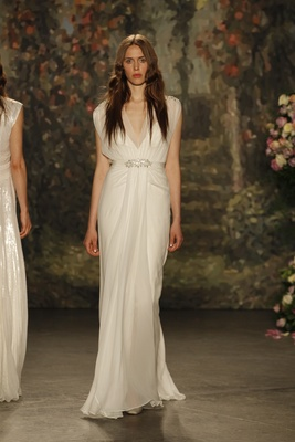 """Draped """"Aria"""" dress with sheer overlay and gathered waist by Jenny Packham"""