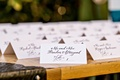 Black and white simple tent seating cards at outdoor wedding