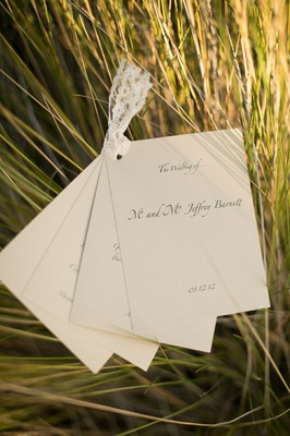 Wedding ceremony program with multiple cards