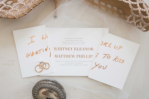 Wedding invitation with rose gold print simple elegant I woke Up Wanting to Kiss You