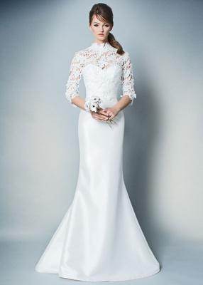 ROMONA by Romona Keveza Fall 2018 strapless flare wedding dress silk with lace three quarter sleeve