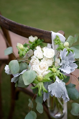 rustic seaside coastal ceremony floral décor foliage anemone roses white green