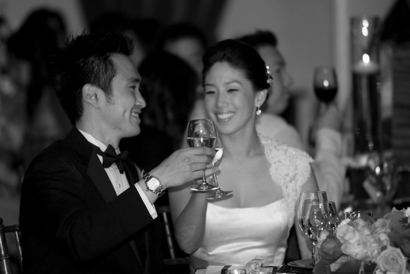 black and white newlyweds toast