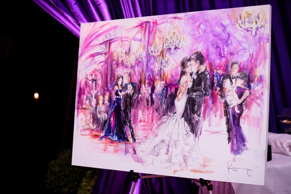 live event painting of newlyweds dancing at reception
