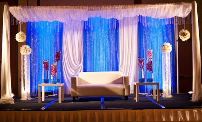 Indian wedding reception loveseat for couple