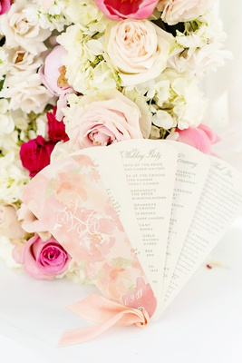 wedding ceremony program fan design pink flower print ribbon wedding party details