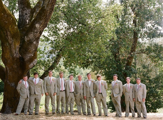 Groom and friends in Sonoma wearing pink ties