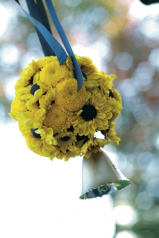 Flower girls ring bearers photos yellow pomander bell inside yellow daisy and mum flower ball with silver bell mightylinksfo