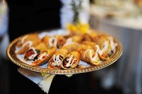 Tray-passed cajun shrimp eggroll appetizers