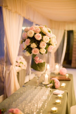 Wedding reception flowers with pink and white roses