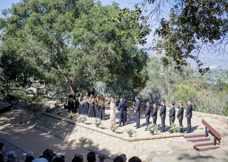 outdoor ceremony in santa barbara california on hill in park and forest bohemian couple