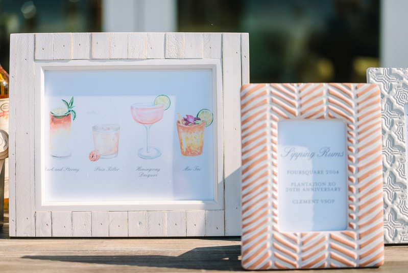 wedding cocktail menu with watercolors of drinks