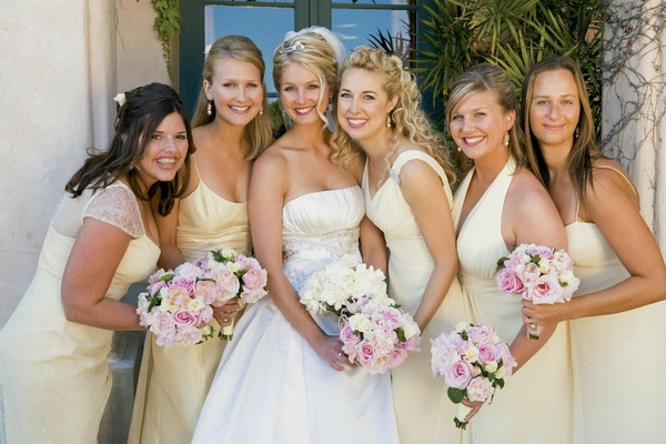 Isabelle Bridges with yellow bridesmaid dresses