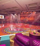 indian sangeet with bright fuchsia, turquoise, orange, patterned dance floor