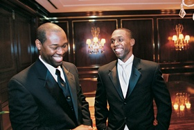 Best Man and groom at Peninsula Beverly Hills hotel