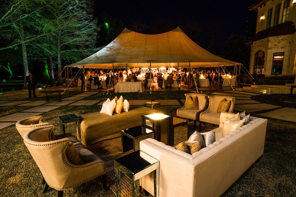 Backyard reception tent and outdoor lounge area