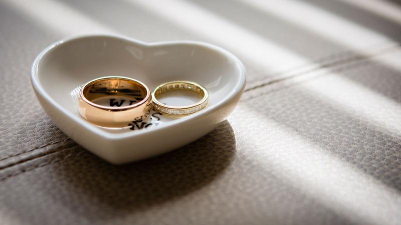 Jewelry Photos Wedding Rings In Heart Shaped Dish Inside Weddings