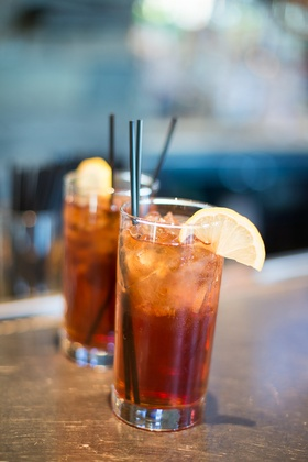 Spiked ice tea signature cocktail for destination wedding and Southern couple