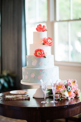 wedding cake four layer white round pastel blue pink flower coral peony sugar flowers