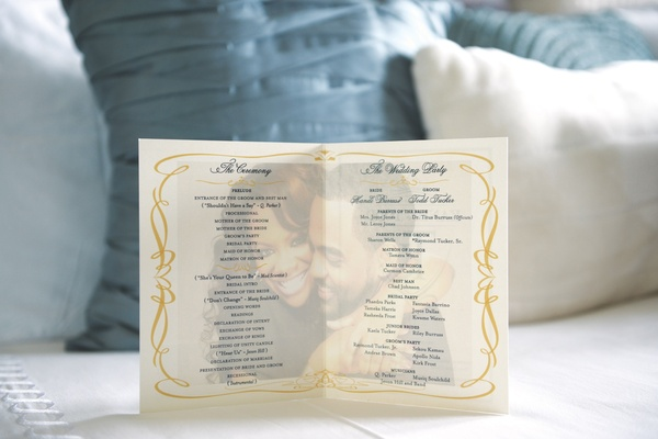 Wedding ceremony program with photo of Kandi Burruss