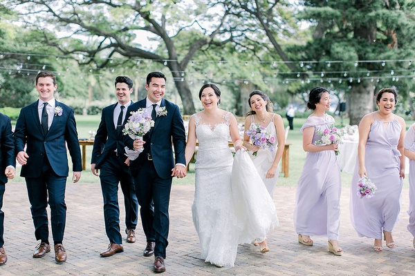 bridal party hawaii wedding on maui light purple bridesmaid dresses