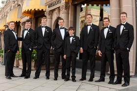 Tuxedo groom and groomsmen in front of Mikimoto
