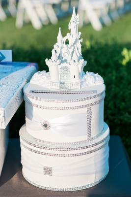 two tier card box with rhinestones with white castle on top